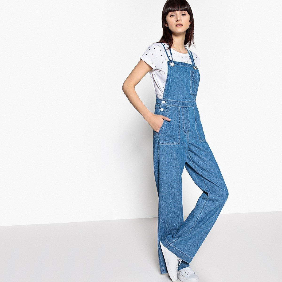 16ed8b54e Get Quotations · La Redoute Collections Womens Wide Leg Denim Dungarees  With Crossover Straps Blue Size Us 6 -
