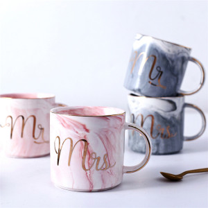 Custom Mr Mrs Gender Mug Marble Golden Edge Handle Ceramic Coffee Mug Tea Cup