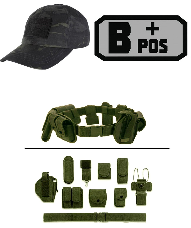 Cap MultiCam Black + B POS (+) GREY BLACK + Green Duty Belt Holster