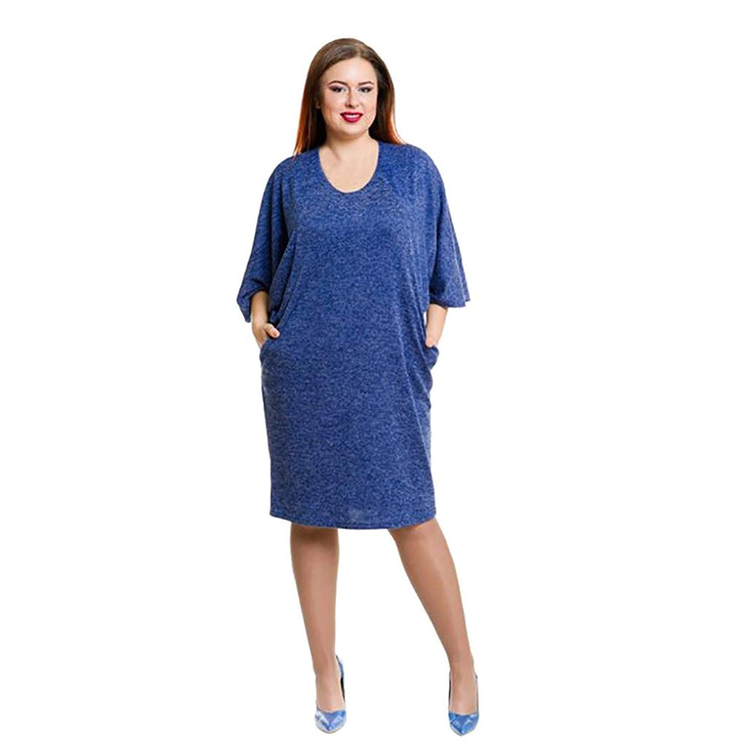 326de51581e1 Get Quotations · KESEE Plus Size Dress Women Solid Three Quarter Sleeve  Casual Loose Party Dress 3 4