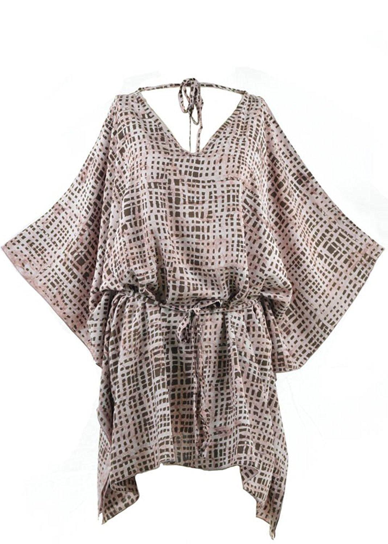 72649e3f51b Get Quotations · Lifestyle Batik Grade1 Rayon Abstract Batik Plus Size Tunic  Poncho Caftan Top 105