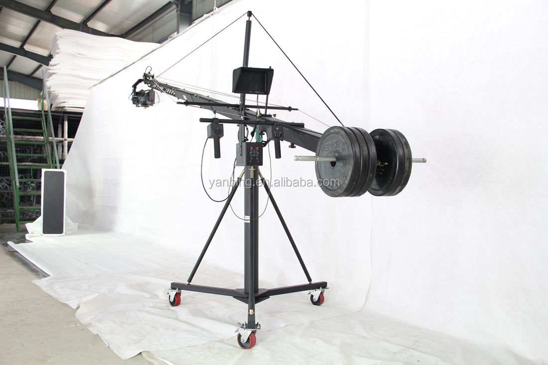 Professional LMS DV jimmy jib triangle video camera crane for sale with motorized dutch head