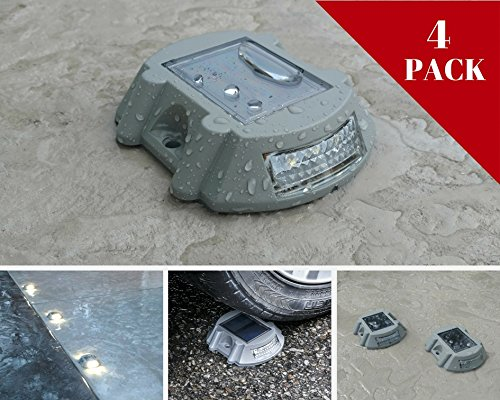 Solar Deck Lights By NuHome 4 Pack Die Cast Aluminum LED, Dock, Deck, Pathway, Driveway Marker Lights 6 LED's