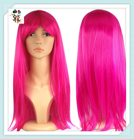 Girls Long Straight Hot Pink Carnival Party Synthetic Wigs HPC-1932