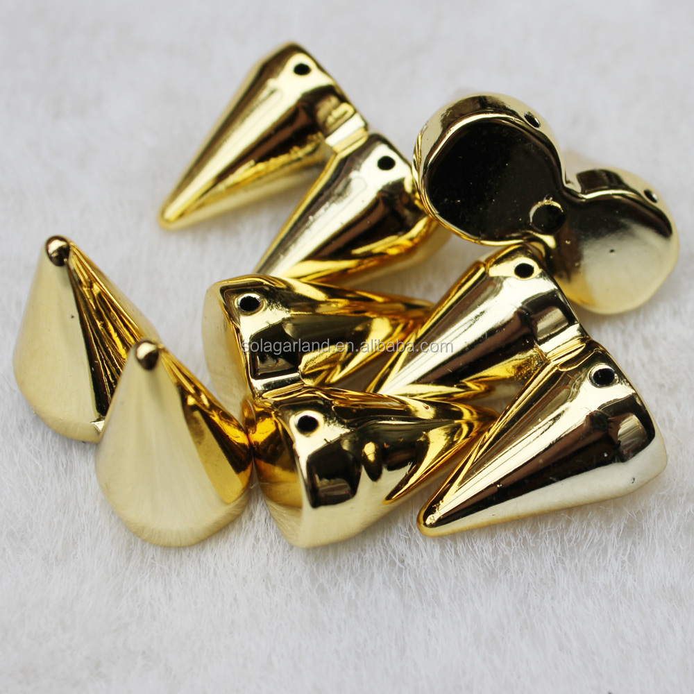 13*22*27.5MM Gold/Silver Twin Double Cone Rivet Stud Spikes