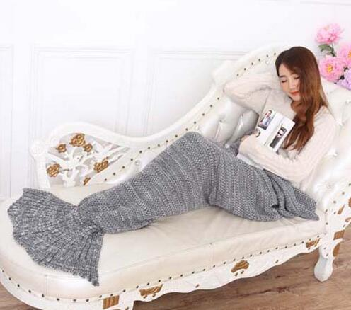 Super Soft HandCrocheted Mermaid Tail Blanket Sofa Blanket Sleeping Bag Adult and kids size
