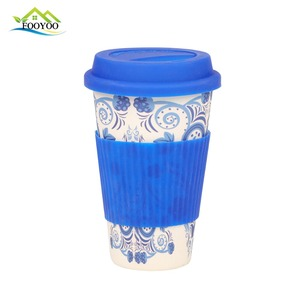 15oz bamboo fiber coffee mug with silicone lid & heat-resistant band