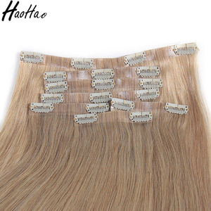 Colored silky straight human hair most popular seamless clip in remy hair extension