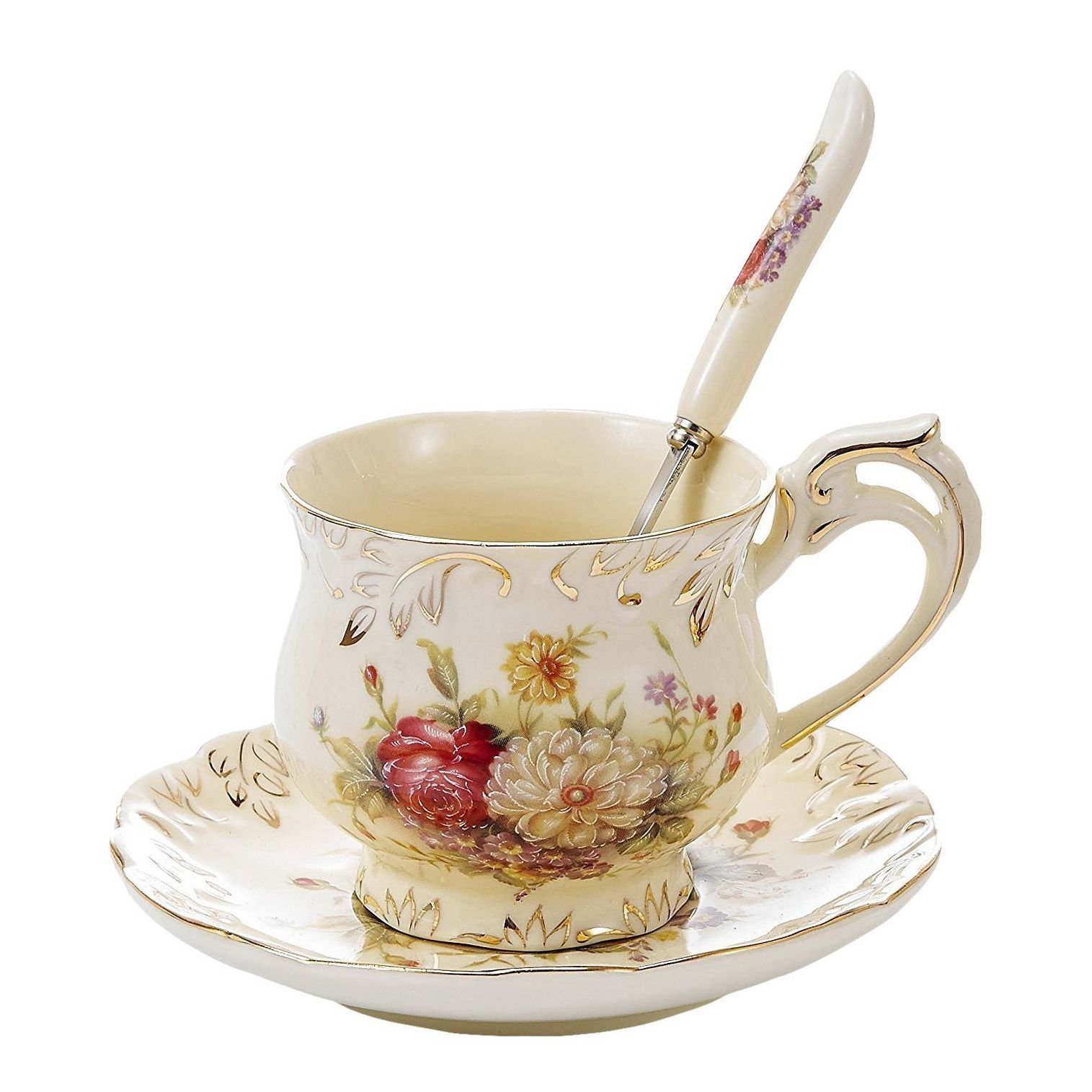 """Panbado 3-Piece Ivory China Gold Rimmed Tea Coffee Set Porcelain Flower Tea Service with 8.5 Ounce 4.5"""" Cup 6"""" Saucer and 6"""" Spoon(Set of 3)"""