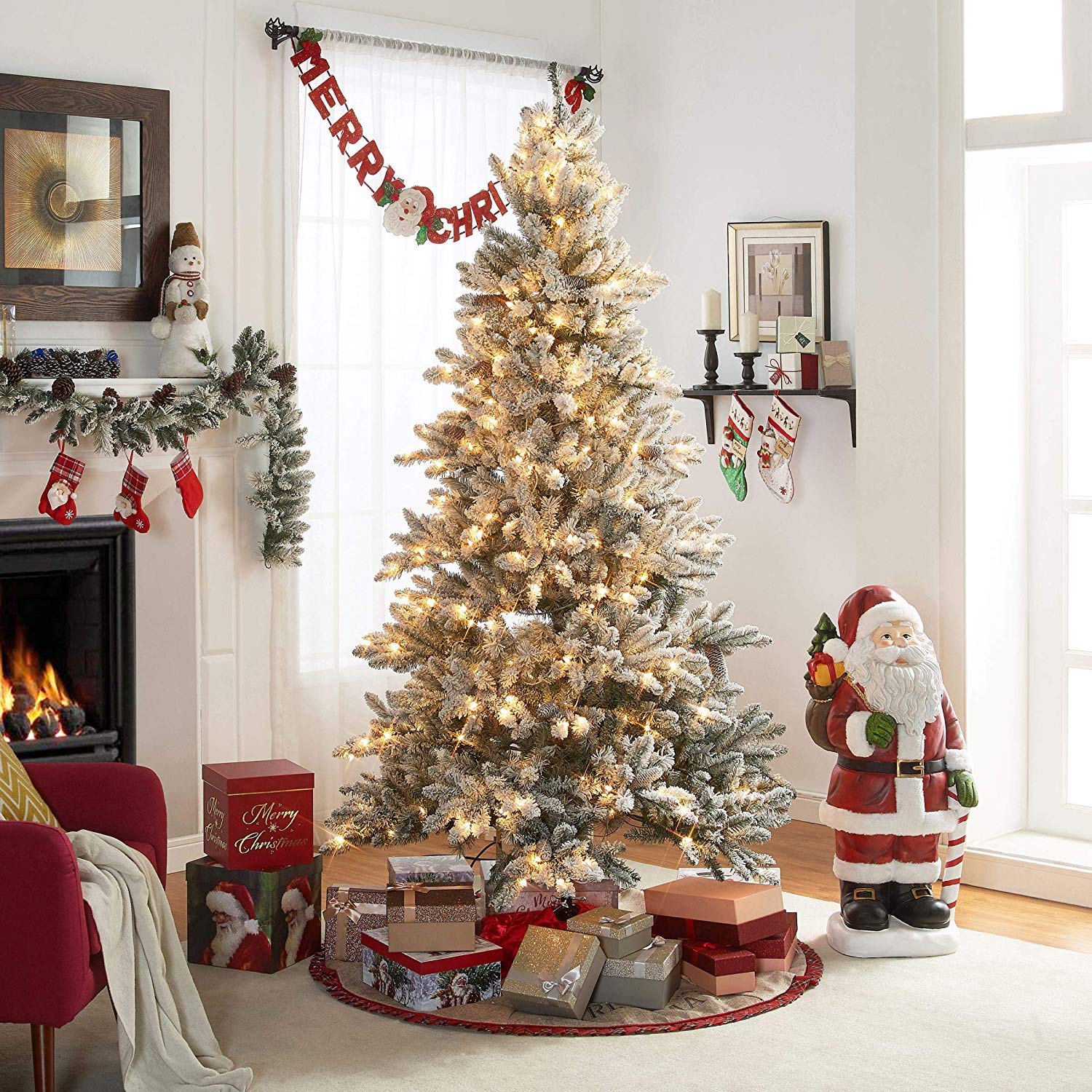 Beautiful Festive Cheery Easy Care and Store Sturdy 7.5 ft. Pre-Lit Flocked Birmingham Fir Tree 400 Clear Lights and Metal Stand - Bring The Magic of Christmas Home