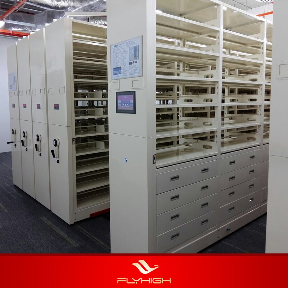 Double Side Electrical Compact System Steel Library Shelves Mobile ...