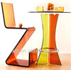 orange color acrylic table professional dinning table and chair