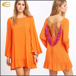 Ecoach casual latest Orange Bell Sleeve Tassel Back Ruffle Dress casual dress designs xxl size women casual dress
