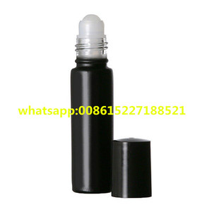 1/3 OZ BLACK Roller Roll On Glass Bottles Refillable Body Oil Perfume