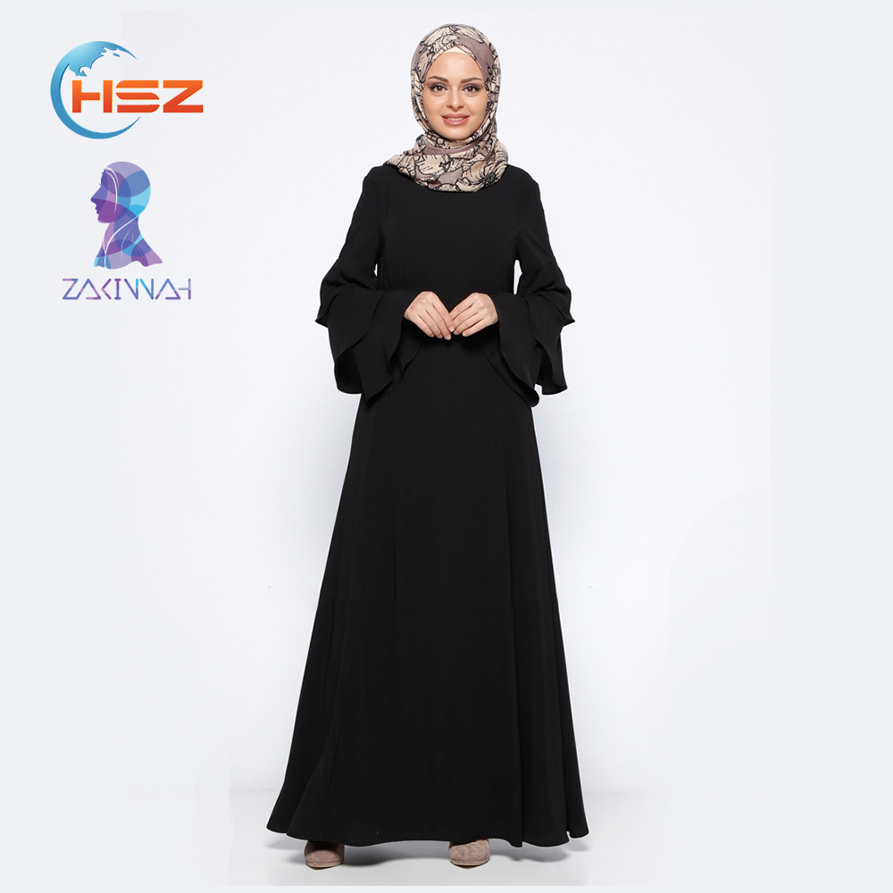 Zakiyyah 068 Beautiful Muslim Women Long Dress with Ruffle Sleeves Turkish Kaftan with Back Zipper Abaya