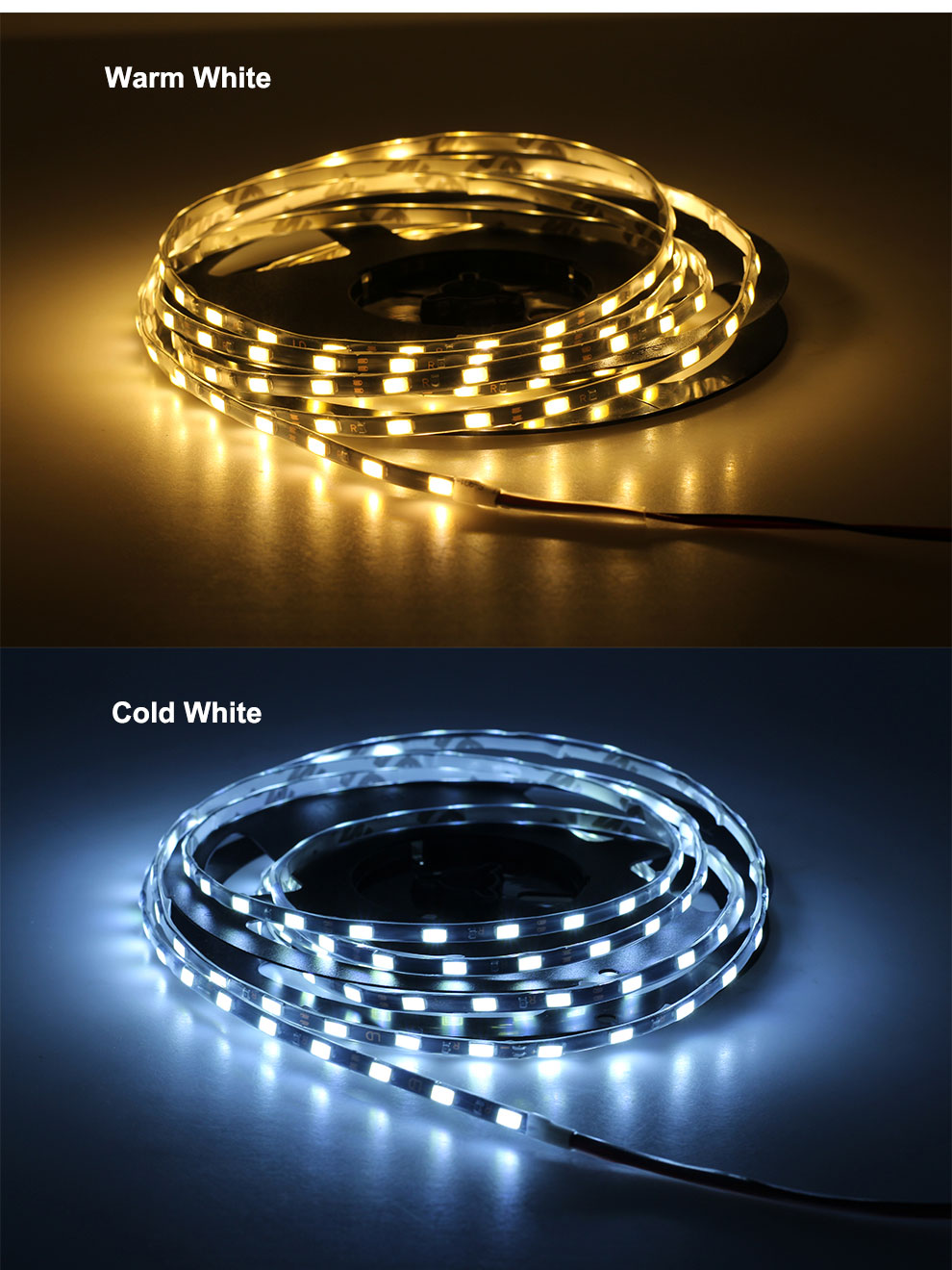 FEICAN IP65 Waterproof 5M 300Leds 5730 LED Strip Flexible Light 12V with Black White PCB