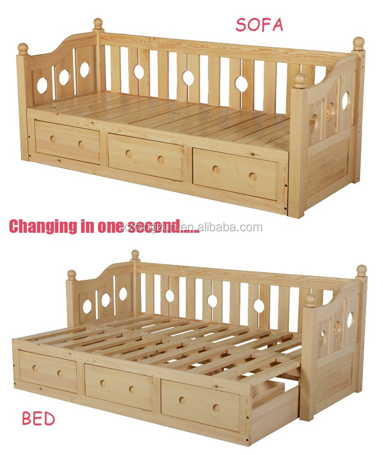 Wooden Sofa Bed Simple Elegant Style Living Room Furniture Fabric Set