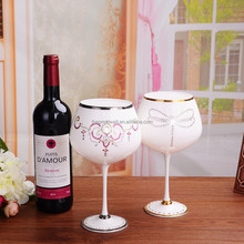 Handmade G&W ODM 5-star hotel& wedding goblet wine with Swarovski crystal, cup drinking, wholesale drinking glass with gold rim