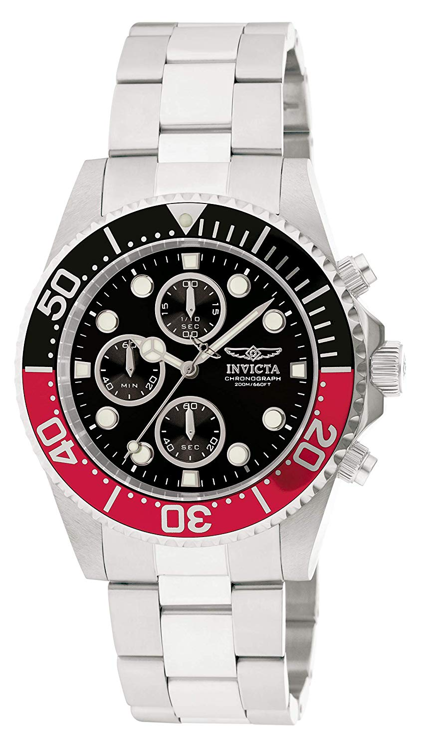 Invicta Men's 'Pro Diver' Quartz Stainless Steel Diving Watch, Color:Silver-Toned (Model: 1770)