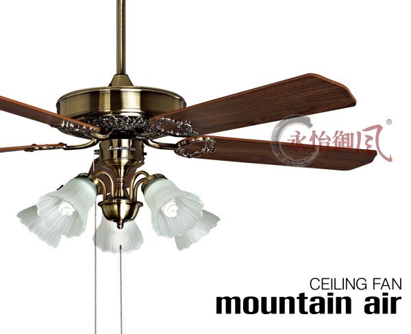 Wood Blade Antique Brass Decorative Home Ceiling Fan