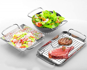 3 pieces Rectangle Stainless Steel BBQ Grill Pan set