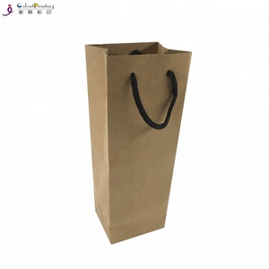 Wholesale Customized Kraft Single Red Wine Packaging Paper Tote Bags