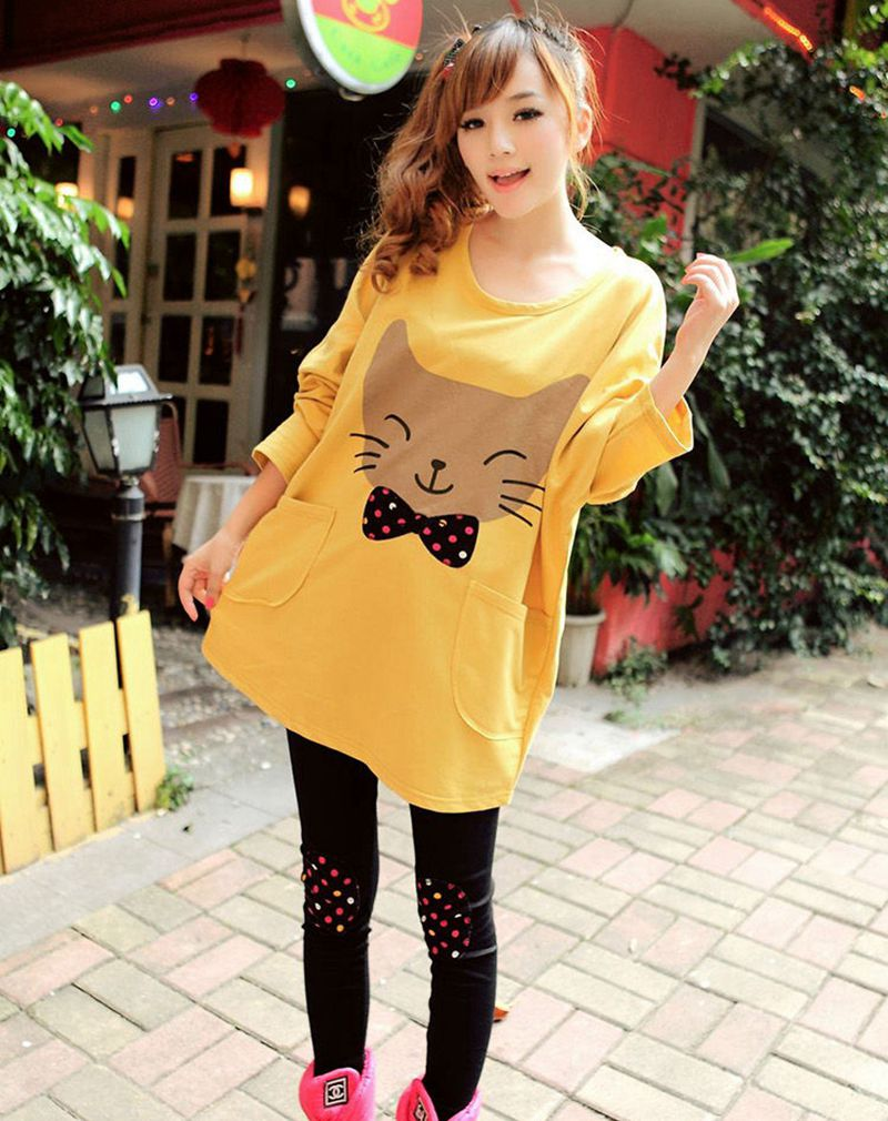 Fashion women maternity clothing casual dresses Large size maternitycartoon printing long sleeves clothes sleep lounge LJL0145