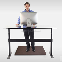 Custom pu leather anti slip anti fatigue relaxing hard floor mat for office,PU leather cushion mat for standing desk