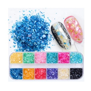 12 Colors Set Crushed Sea Shell Chips For Nails Polish Gel UV 3D Tips Nail Art Decoration