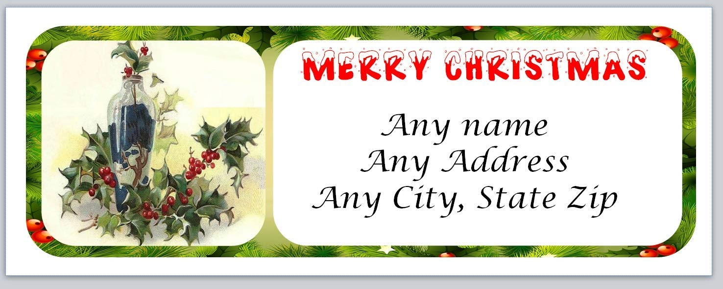 120 Personalized Return Address Labels Christmas Primitive Country Pip Berries (ac 45)