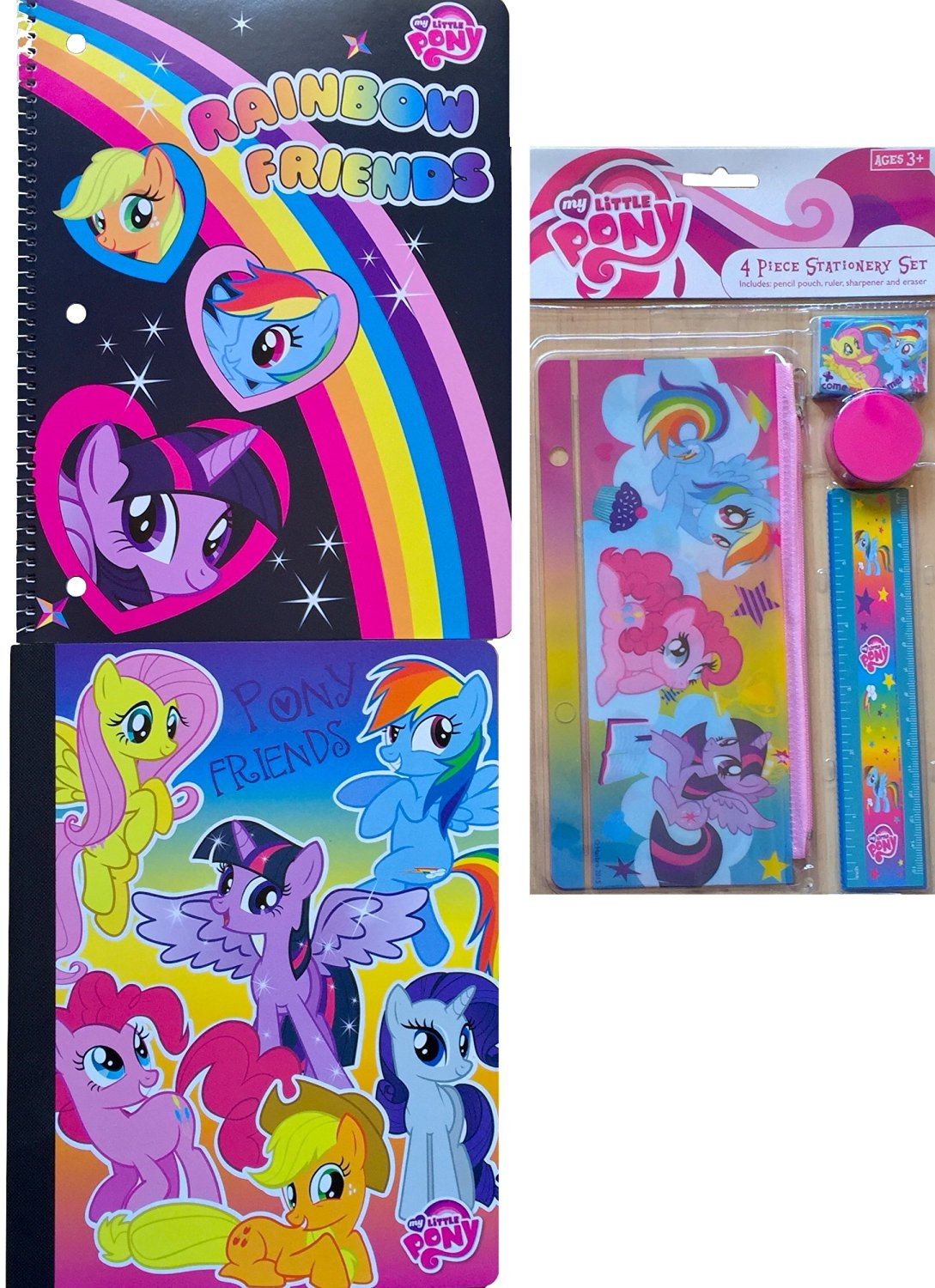 My Little Pony Back to School Supplies Includes My Little Pony Spiral Notebook and Composition Notebook with My Little Pony 4 Piece Stationary Set Includes Pencil Pouch, Eraser, Ruler and More