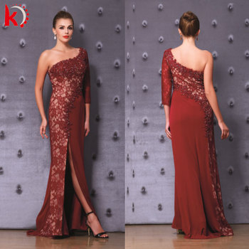 8f6676eae Sexy Backless Beaded Lace Jersey One Shoulder Elegant Long Sleeve Evening  Dresses Dress