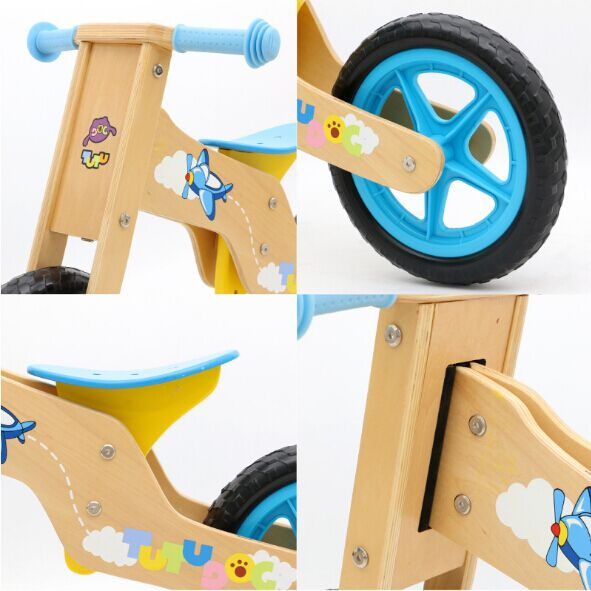 Amazon hot sale wooden colorful balance bicycle for 2--7 years old kids