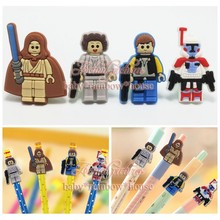 4pcs/lot Legoes Movie Figures Pencil Cap Pencil Topper Writing Supplies office Stationery Gifts Pencil Accessories Kids Gifts