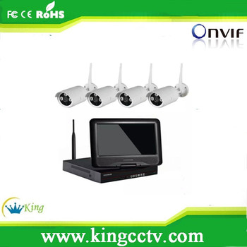 KingCCTV 720P security camera system outdoor 10.1inch LCD wireless cctv kit