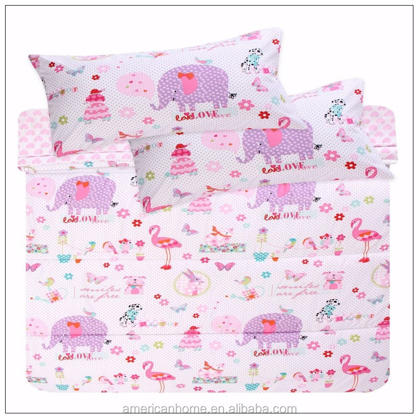 70gsm microfiber lovely plaid patchwork fabric polyester printed bed quilt and pillow covers