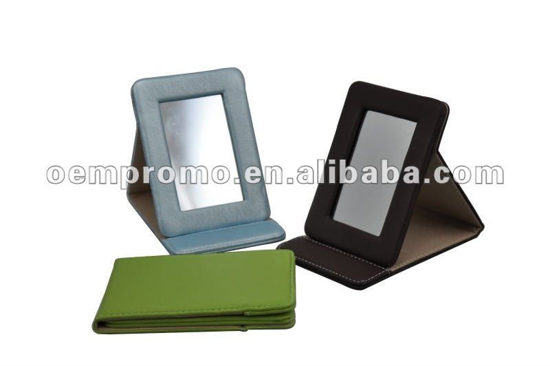 High quality beautiful Leather fold-up standing cosmetic mirror