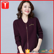 Ladies handmade embroidery knitting sweaters zip cashmere cardigan