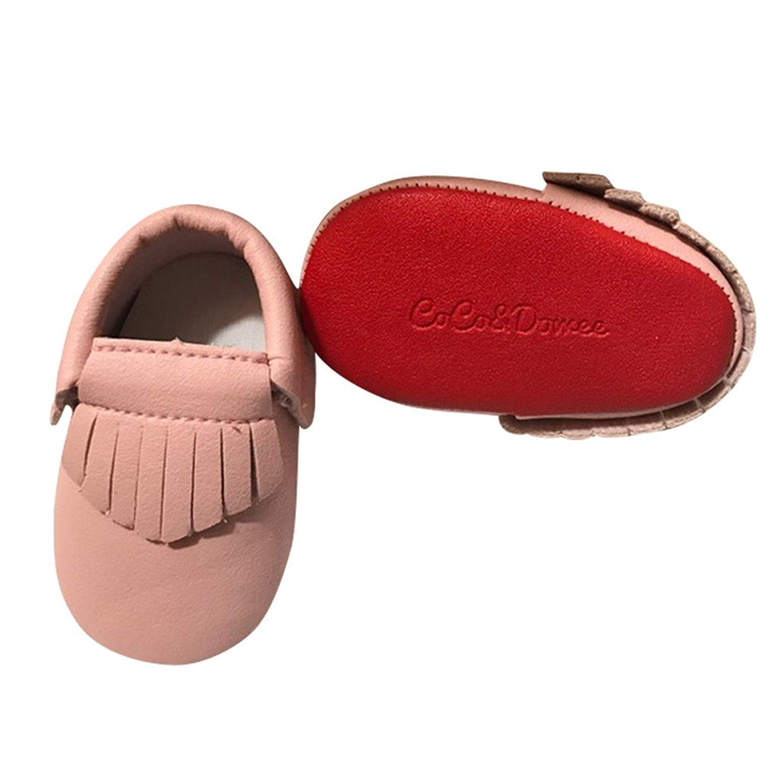 eecf31aad7f7 Get Quotations · Baby Girls Pink Red Soft Sole Faux Leather Tassel Moccasin Crib  Shoes 3-18M