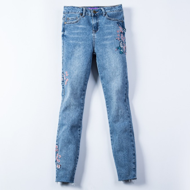 3e60274909f8a China women skinny stretch stone wash embroidered and raw edges denim  zipper jeans pants