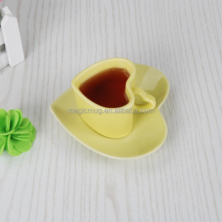 Heart Shape Coffee Cup With Saucer
