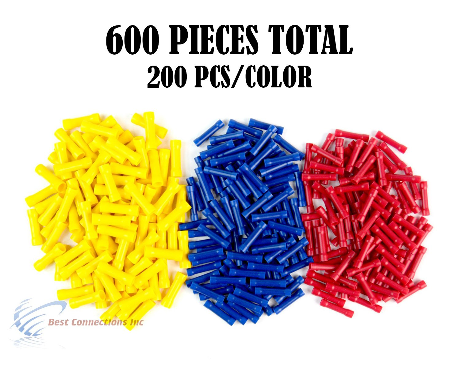 600 PCS Red Blue Yellow Vinyl Butt Connector 22-10 Gauge 12V Electrical Install