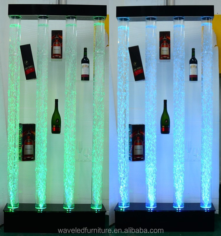 light up led dancing water bubble tubes wall cabinet wine display LED water bubble tube