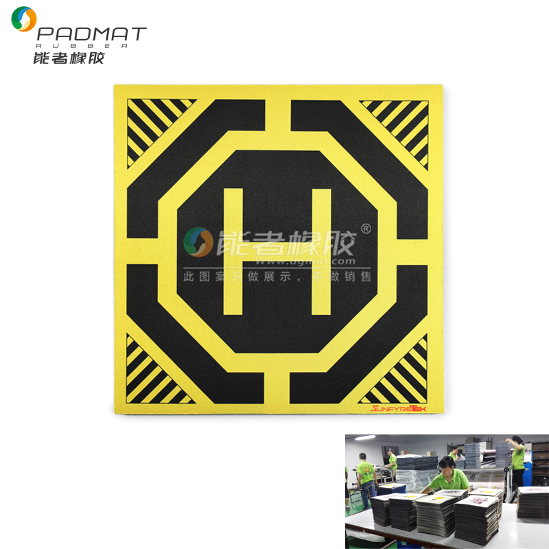 Extra huge helicopter drone landing pads with yellow H printed
