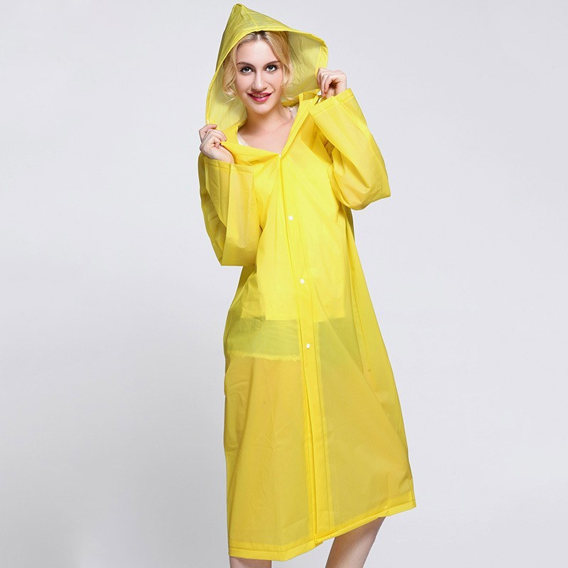 red candy color hot sell good quality waterproof fabric string cap buttons coat PEVA rain coat raincoat