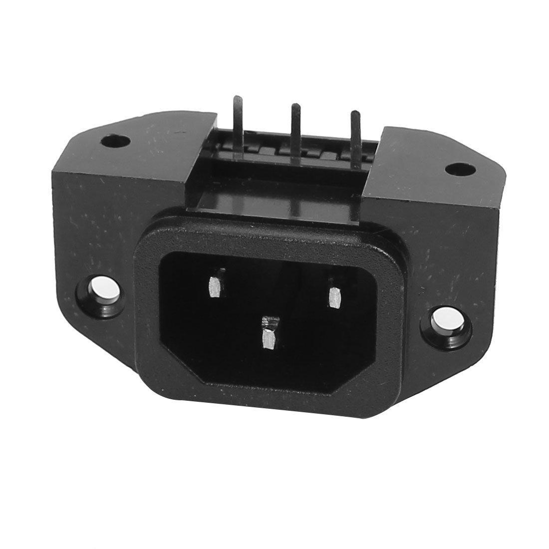 uxcell AC250V 10A SS-120E IEC AC Input Wiring Socket 3 Pins Copper Rhodium Power Black