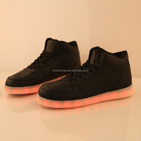 Fashion Design Black Pu Mid Top Flat Light Up Led Men Lace Up Shoes Casual
