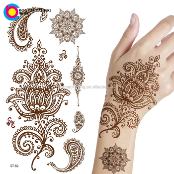 Custom made bloemen henna mehndi tijdelijke tattoo sticker for Custom henna tattoo