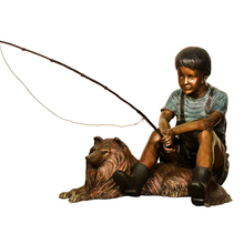 outdoor garden decor bronze little boys fishing statue used for park