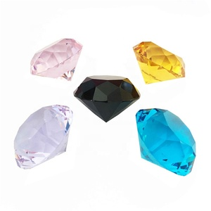 High quality handmade 50mm many color glass cut-faceted diamond crystal pure diamond paperweight for desk table decoration